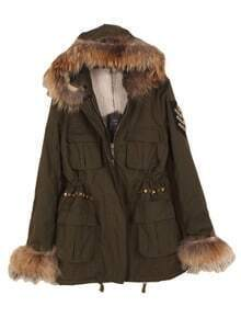Green Fur Hooded Long Sleeve Beading Rivet Coat