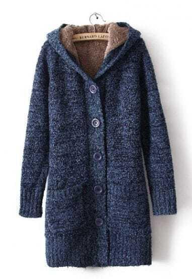 Blue Hooded Long Sleeve Pockets Cardigan Sweater