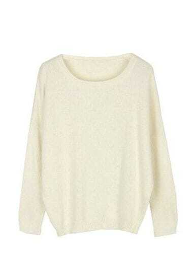 White Round Neck Long Sleeve Wool Pullovers Sweater