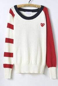 Apricot Contrast Red Long Sleeve Heart Print Sweater