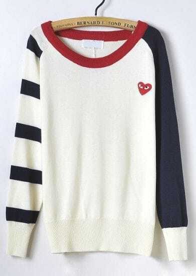 Blue Contrast Red Long Sleeve Heart Print Sweater