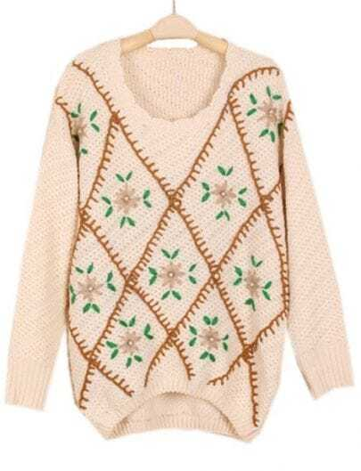 Apricot Long Sleeve Embroidery Diaper Sweater