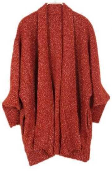 Orange Batwing Long Sleeve Loose Cardigan Sweater