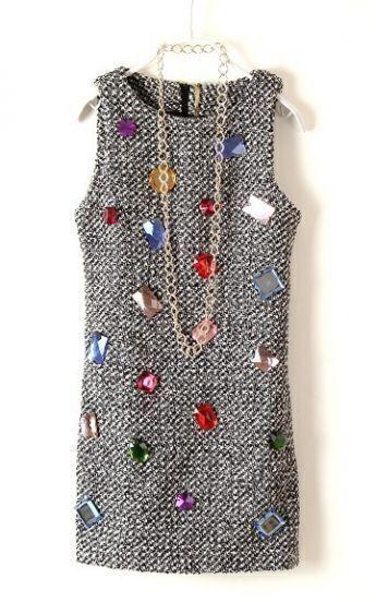 Grey Sleeveless Rhinestone Embellished Sweater Dress