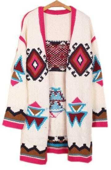 White Long Sleeve Geometric Loose Cardigan Sweater