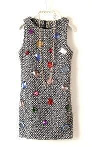 Grey Sleeveless Rhinestone Embellished Sweater Dress