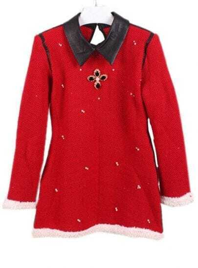 Red Contrast Leather Lapel Beading Sweater Dress