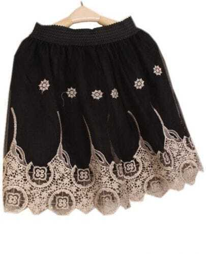 Black Elastic Waist Embroidery Mesh Yoke Skirt