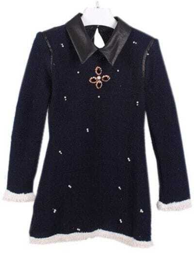 Blue Contrast Leather Lapel Beading Sweater Dress