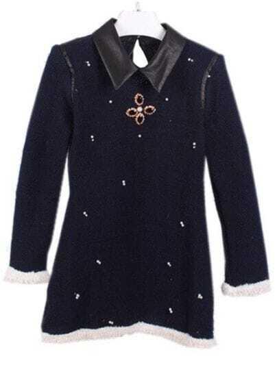 Blue Contrast Leather Lapel Beading Sweater Dress