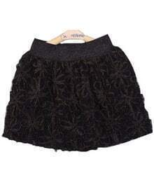 Black Elastic Waist Floral Plush Skirt