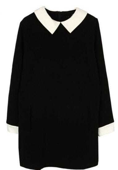 Black Lapel Long Sleeve Back Zipper Dress