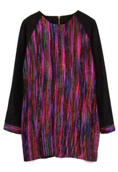 Multi Long Sleeve Vertical Stripe Zipper Dress