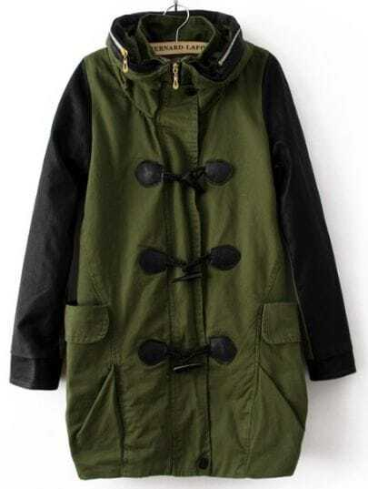 Green Hooded Horn Button Pockets Trench Coat
