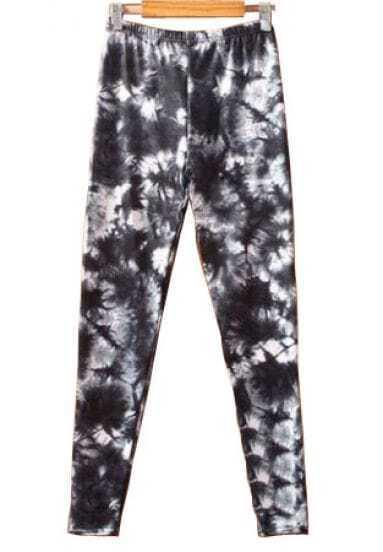 Black White Landscape Print Elastic Waist Leggings