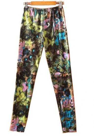 Multi Color Forest Print Elastic Waist Leggings
