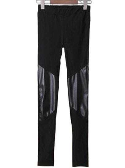 Black Skinny Contrast Leather Elastic Leggings