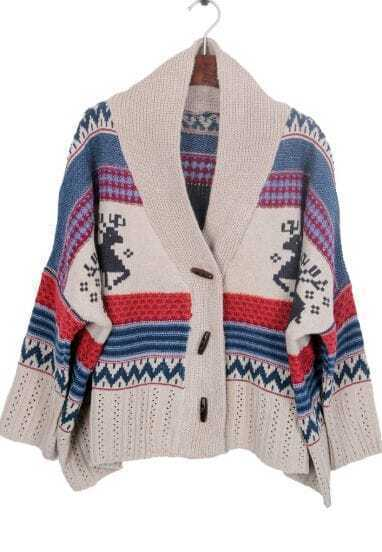 Khaki Shawl Collar Tribal Deer Pattern Cardigan
