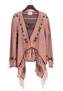 Pink Black Tribal Geometrical Pattern Fringe Hem Cardigan