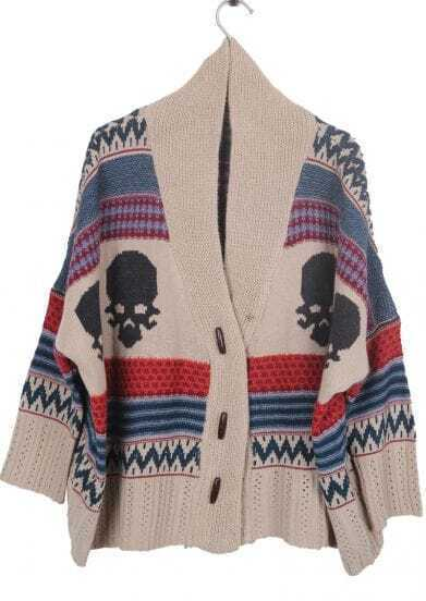 Khaki Shawl Collar Tribal Skull Pattern Cardigan