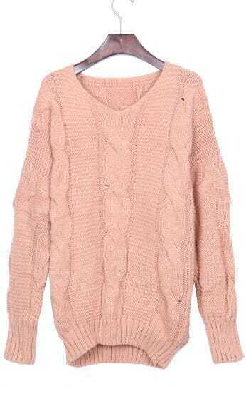 Pink Batwing Long Sleeve V-neck Cable Sweater