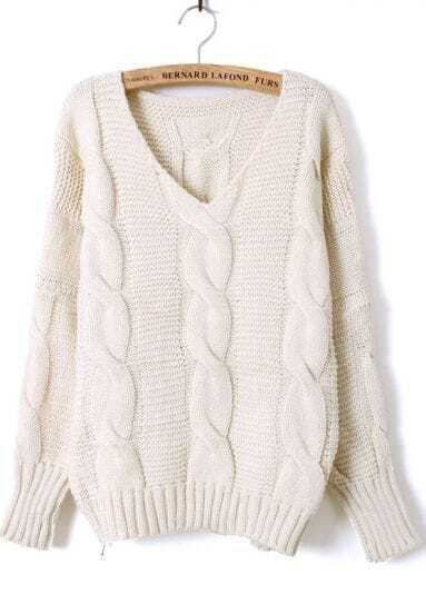 Beige Batwing Long Sleeve V-neck Cable Sweater