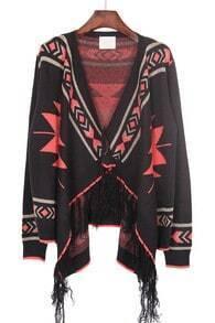 Black Orange Tribal Geometrical Pattern Fringe Hem Cardigan