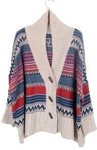 Khaki Shawl Collar Tribal Striped Pattern Cardigan