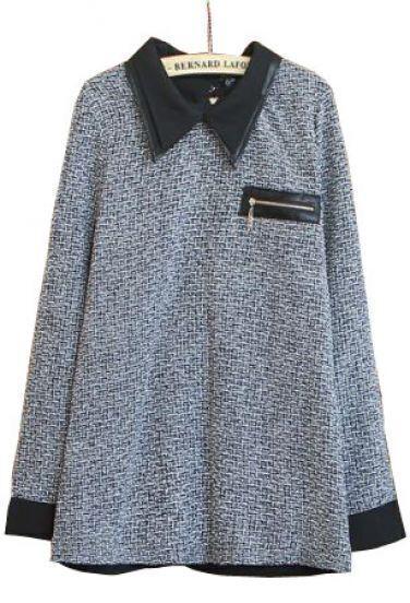 Black Lapel Long Sleeve Back Zipper Pocket Blouse