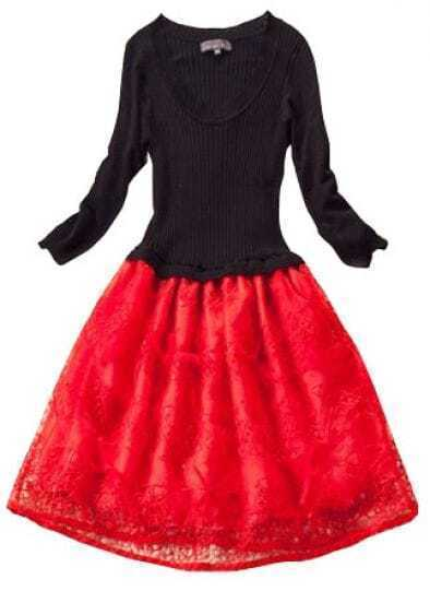 Black Red Long Sleeve Pleated Embroidery Dress