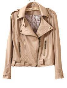 Beige Lapel Long Sleeve Rivet Zipper PU Leather Crop Coat