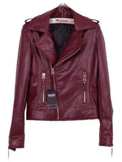 Wine Red Lapel Long Sleeve Zipper PU Leather Coat