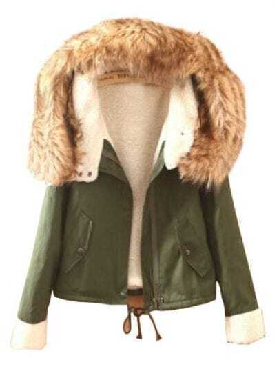 Green Fur Hooded Long Sleeve Pockets Coat