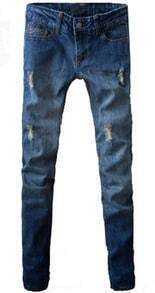 Blue Bleached Ripped Front Zipper Fly Pockets Skinny Jeans