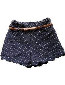 Navy Elastic Waist Polka Dot Zigzag Shorts