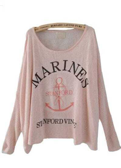 Pink Batwing Long Sleeve Letters Print Pullovers Sweater