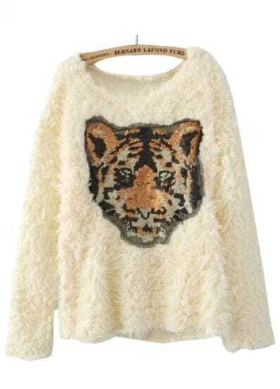 Beige Long Sleeve Tiger Print Sequined Sweater
