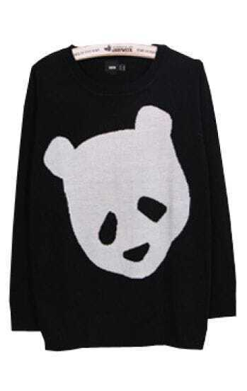 Black Long Sleeve Bear Print Pullovers Sweater