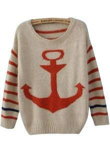 Orange Striped Long Sleeve Anchor Print Mohair Sweater