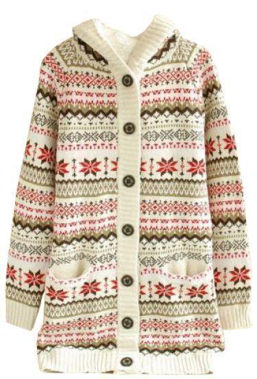 Beige Hooded Long Sleeve Snowflake Patterns Cardigan Sweater ...