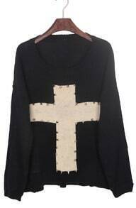 Black Rivet Embellished Cross Pattern Dip Hem Sweater
