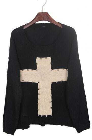 Black Rivet Embellished Cross Pattern Dip Hem Sweater