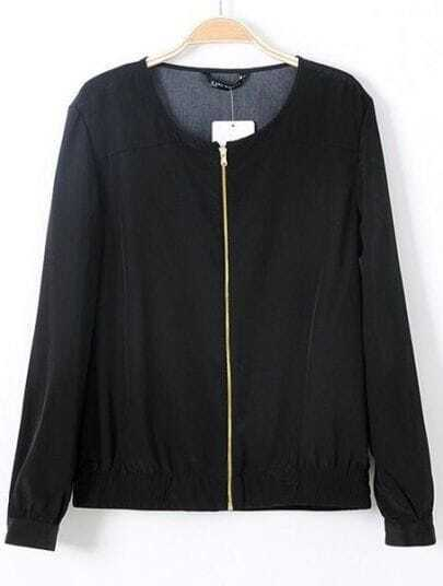 Black Long Sleeve Leopard Print Zipper Coat