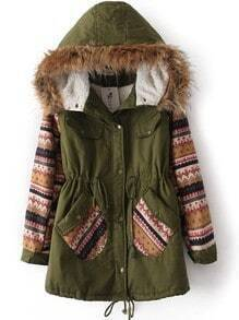 Green Fur Hooded Tribal Print Drawstring Coat