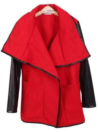 Red Contrast Leather Long Sleeve Pockets Coat