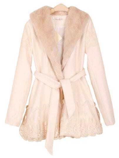 Apricot Long Sleeve Lace Drawstring Bow Coat