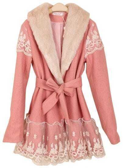 Pink Long Sleeve Lace Drawstring Bow Coat