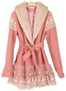 Pink Long Sleeve Lace Drawstring Bow Coat