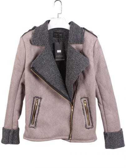Grey Long Sleeve Contrast Leather Crop Coat