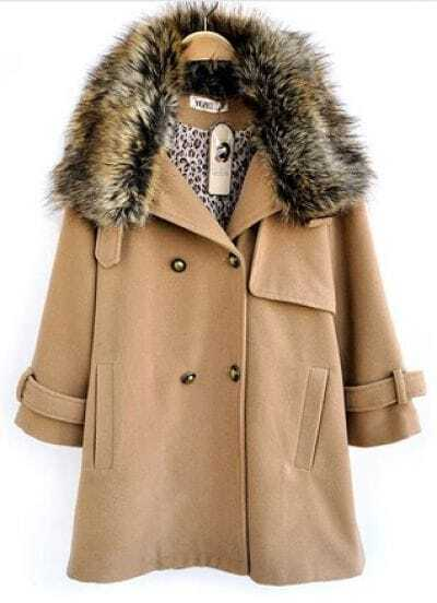 Camel Fur Lapel Long Sleeve Pockets Buttons Coat